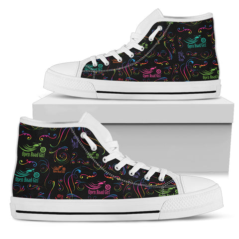 RAINBOW SCATTER DESIGN OPEN ROAD GIRL CANVAS HI-TOPS