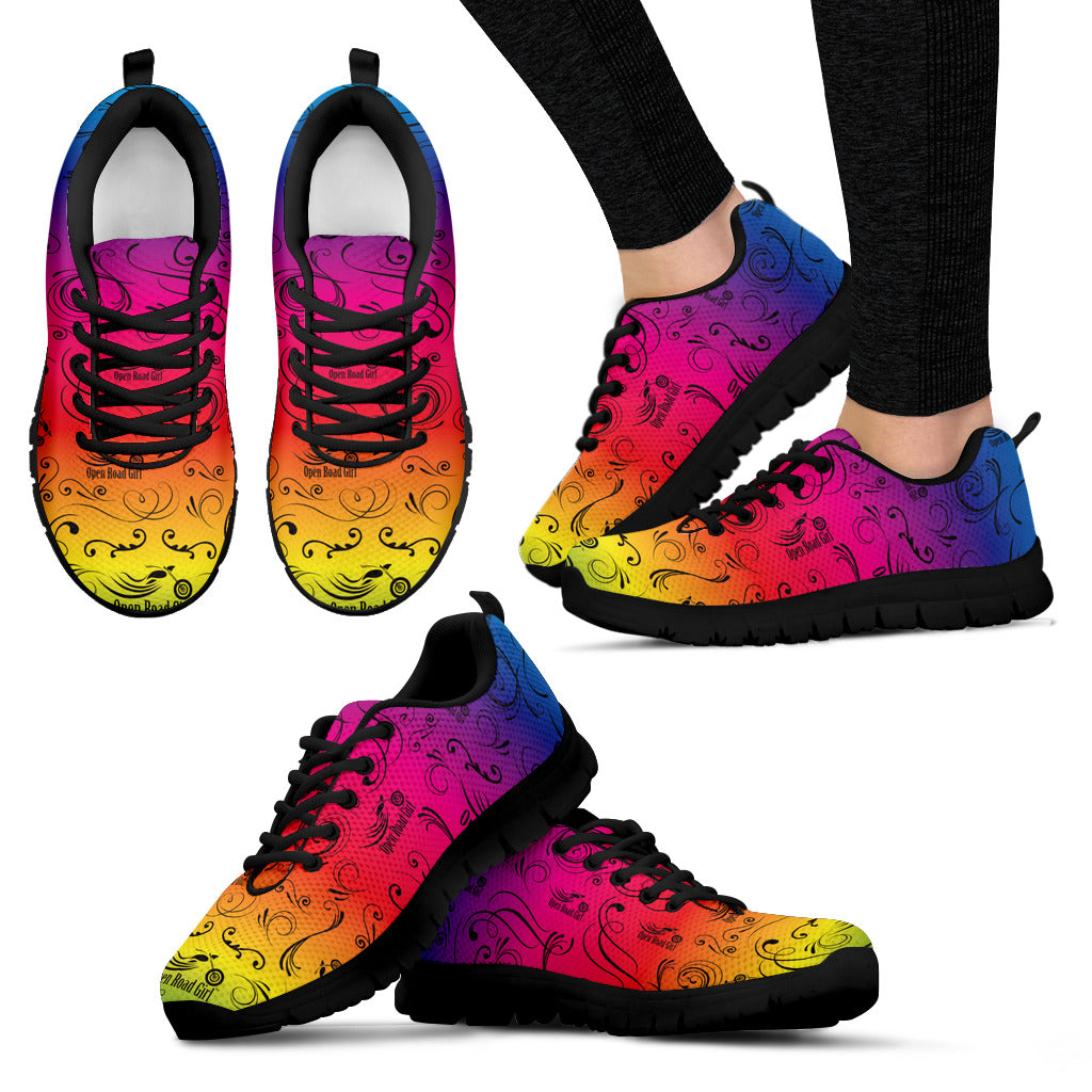RAINBOW/COLOR SCATTER Open Road Girl Womens Tennis Shoes with Black So