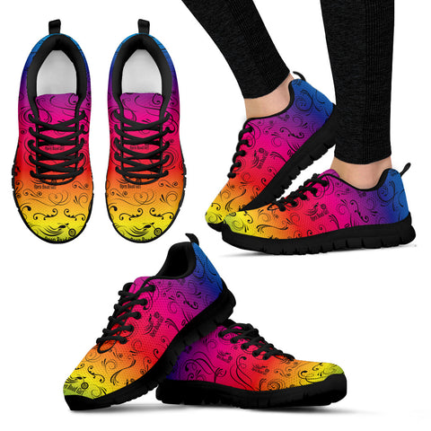 RAINBOW/COLOR SCATTER Open Road Girl Womens Tennis Shoes with Black Soles