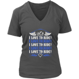 ROYAL BLUE I Love To Ride Women's V-Neck Tee