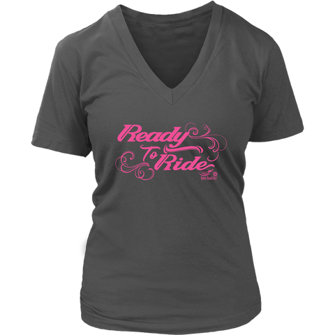 PINK Ready to Ride with Swirls Women's Vneck Tee