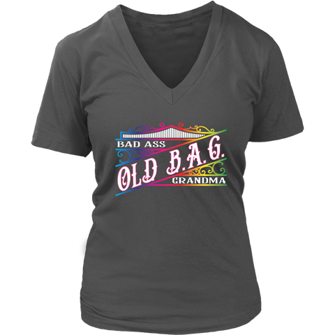 RAINBOW OLD B.A.G. Bad Ass Grandma Vneck Tee, 7 Colors