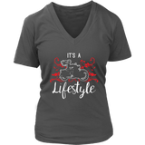 RED It's a Lifestyle Women's V-Neck T-Shirt-Short Sleeve