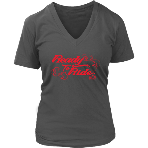RED READY TO RIDE WITH SWIRLS WOMEN'S VNECK TEE