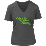GREEN READY TO RIDE WOMEN'S VNECK TEE