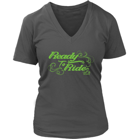 GREEN READY TO RIDE WITH SWIRLS WOMEN'S VNECK TEE