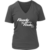 WHITE READY TO RIDE WOMEN'S VNECK TEE