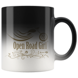 GOLD OPEN ROAD GIRL 11OZ MAGIC MUG, 2 STYLES
