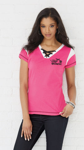 Open Road Girl Lace Up Jersey Tee, 4 COLORS