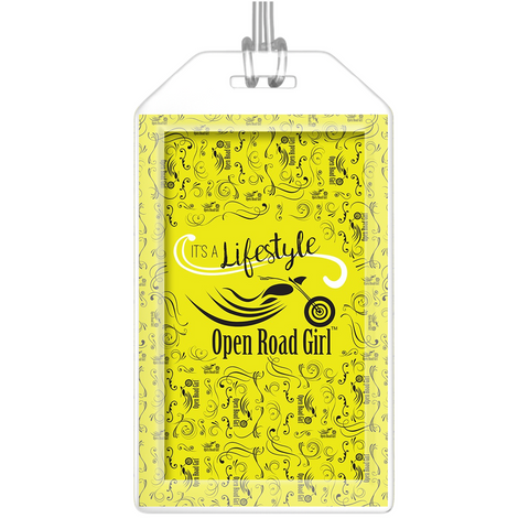 YELLOW Open Road Girl Luggage Tags, Set of 2