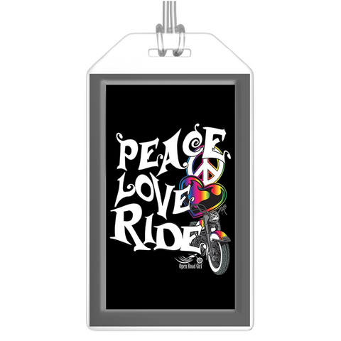 RAINBOW Peace Love Ride Luggage Tags, Set of 2