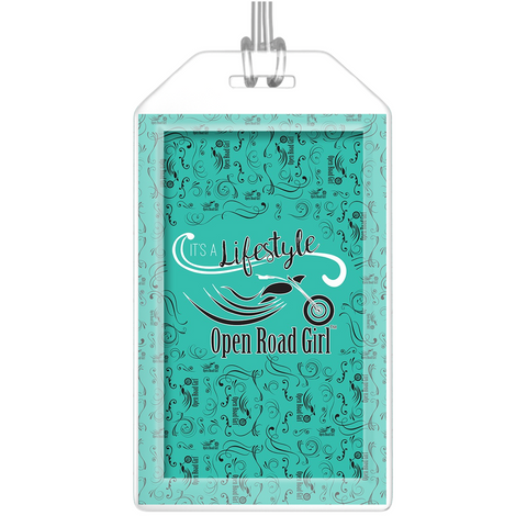 TEAL Open Road Girl Luggage Tags, Set of 2
