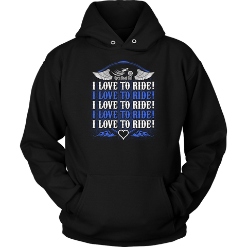 ROYAL BLUE I Love To Ride UNISEX Sweatshirt-Hoodie