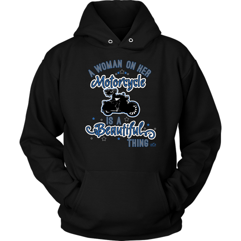 BLUE A Woman on her Motorcycle is a Beautiful Thing UNISEX Hoodie