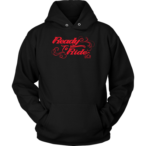 RED READY TO RIDE WITH SWIRLS UNISEX PULLOVER HOODIE