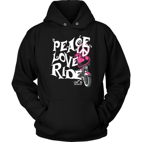 PINK Peace Love Ride Sweatshirt UNISEX Hoodie