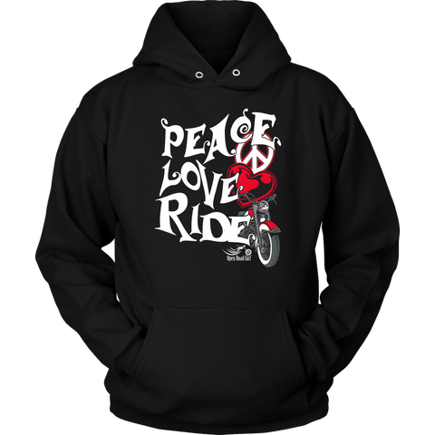 RED Peace Love Ride Sweatshirt UNISEX Hoodie