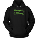 GREEN  READY TO RIDE WITH SWIRLS UNISEX PULLOVER HOODIE