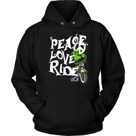 GREEN Peace Love Ride UNISEX Hoodie