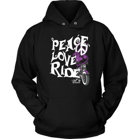 PURPLE Peace Love Ride Sweatshirt UNISEX Hoodie