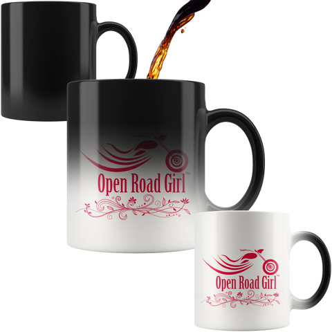 RED OPEN ROAD GIRL 11OZ MAGIC MUG, 2 STYLES