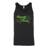 GREEN READY TO RIDE WITH SWIRLS UNISEX WIDE BACK TANK TOP