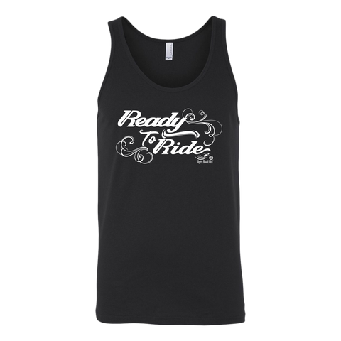 WHITE READY TO RIDE WITH SWIRLS UNISEX WIDE BACK TANK TOP