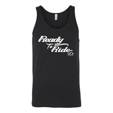 WHITE READY TO RIDE UNISEX WIDE BACK TANK TOP