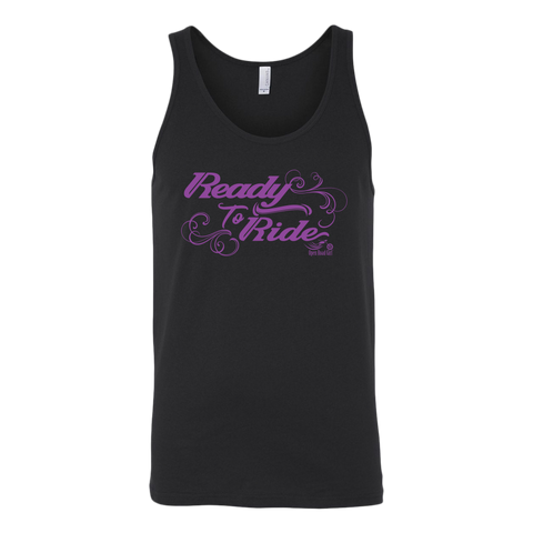 PURPLE READY TO RIDE WITH SWIRLS UNISEX WIDE BACK TANK TOP