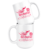 RED OPEN ROAD GIRL 15OZ MUG, 2 STYLES