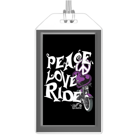 PURPLE Peace Love Ride Luggage Tags, Set of 2
