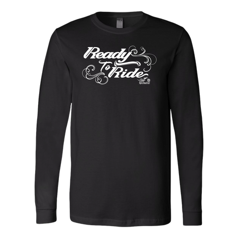 WHITE READY TO RIDE WITH SWIRLS UNISEX LONG SLEEVE TEE