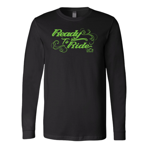 GREEN READY TO RIDE WITH SWIRLS UNISEX LONG SLEEVE TEE
