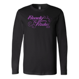 PURPLE READY TO RIDE WITH SWIRLS UNISEX LONG SLEEVE TEE