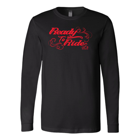 RED READY TO RIDE WITH SWIRLS UNISEX LONG SLEEVE TEE