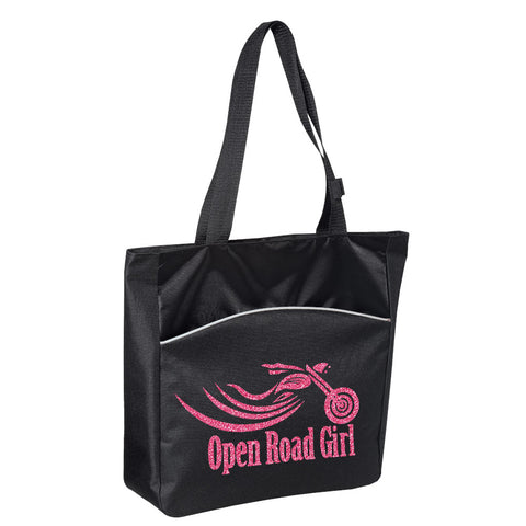 BLACK Glitter Open Road Girl (Pick your COLOR) Tote