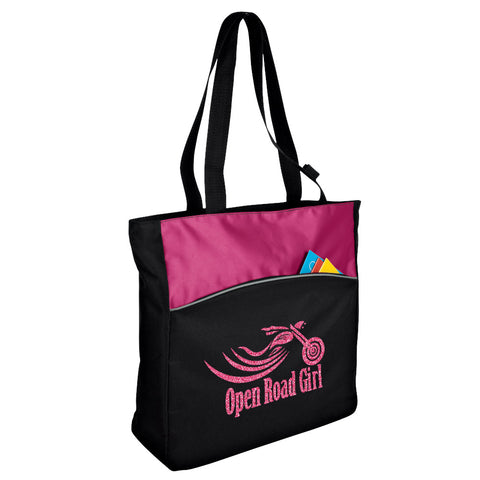 PINK Glitter Open Road Girl Two-Tone Tote