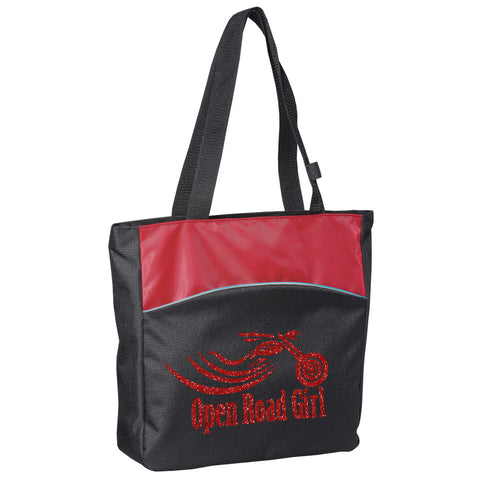 RED Glitter Open Road Girl Two-Tone Tote