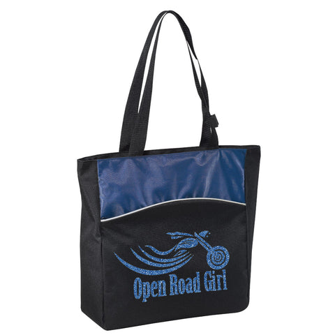 BLUE Glitter Open Road Girl Two-Tone Tote