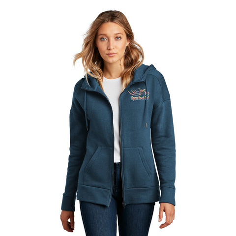 BLUE Open Road Girl Full ZIP-UP Hoodie - CHOOSE YOUR LOGO COLOR!