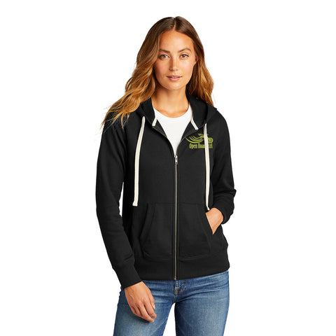 BLACK Open Road Girl Full Zip Up Hoodie with White Strings