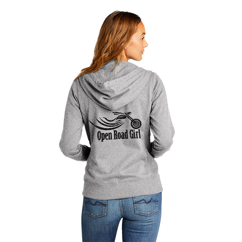 LIGHT GREY Open Road Girl Full Zip Up Hoodie with White Strings
