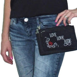 Live, Love, Ride Durable Canvas Hip Purse Durable Canvas Hip Purse