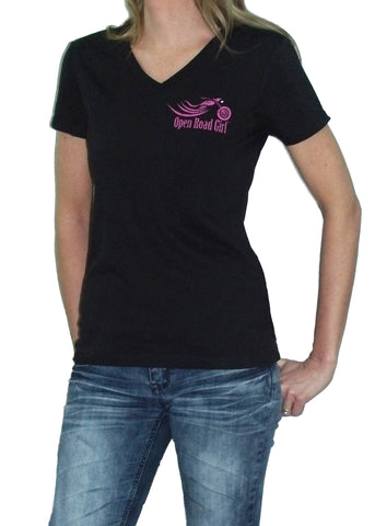 Open Road Girl Black Frost V-neck Shirt, Size SMALL ONLY