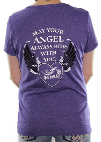 May your Angel Always Ride with You Frost V-neck Shirt, 3 Colors