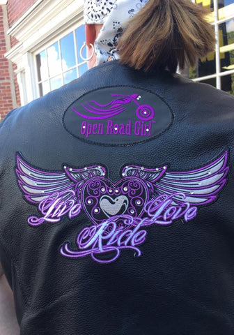 Live/Love/Ride Wing Patch with Rhinestones, 5 Colors