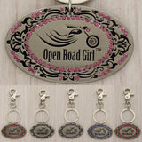 Open Road Girl Rhinestone Keychain