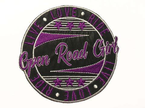 Open Road Girl/Live Love Ride Round Patch, 4 Colors