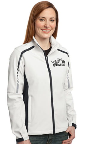 WHITE Open Road Girl Ladies Soft Shell Jacket