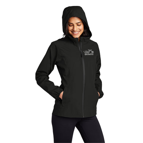 BLACK Open Road Girl Essential Rain Jacket.  CHOOSE your Front logo ONLY.